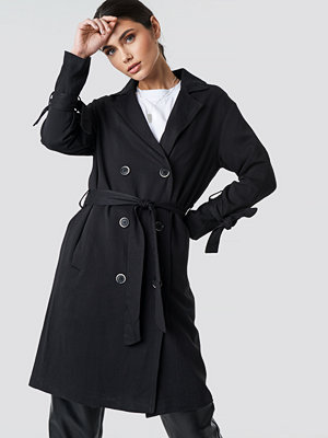 NA-KD Belted Trench Coat svart