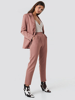 NA-KD Classic omönstrade byxor High Waist Cigarette Pants rosa