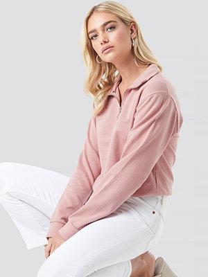 NA-KD Half Zip Pullover rosa