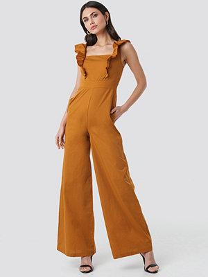 Trendyol Ruffle Detail Jumpsuit orange