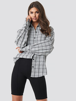 NA-KD Classic Structured Wide Cuff Checkered Shirt grå