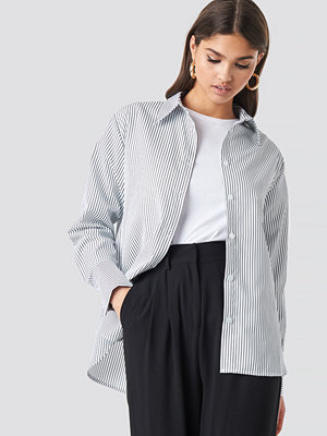 Skjortor - NA-KD Classic Striped Oversized Shirt vit
