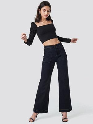 Trendyol Stitch Detail High Waist Wide Jeans blå