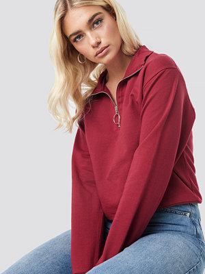 NA-KD Half Zip Pullover röd