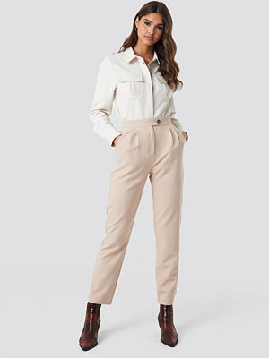 NA-KD Classic omönstrade byxor High Waist Cigarette Pants beige