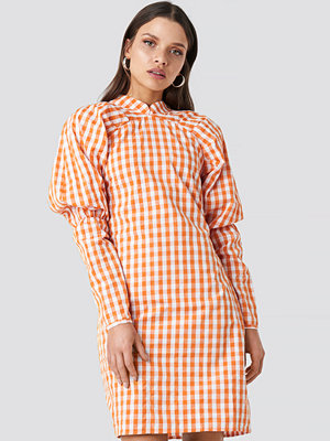 NA-KD Trend Big Puff Sleeve Dress orange