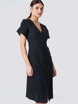 NA-KD Boho Button Front Linen-blend Dress svart
