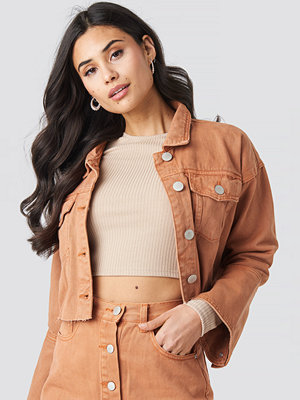 Glamorous Cropped Denim Jacket orange
