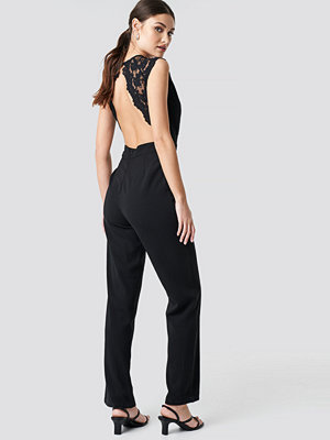 Jumpsuits & playsuits - NA-KD Party Open Back Lace Part Jumpsuit svart