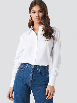 NA-KD Classic Wide Collar Striped Shirt vit