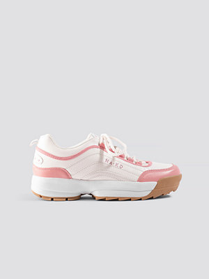 NA-KD Shoes Color Block Sneakers rosa vit