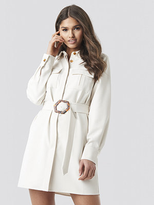 NA-KD Classic Belted Straight Fit Shirt Dress vit