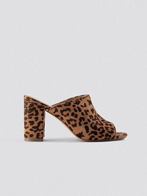 NA-KD Shoes Leopard Block Heel Mules brun