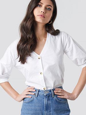 Blusar - NA-KD Trend Button Short Sleeve Blouse vit