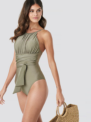 Baddräkter - Trendyol Wrap Around Swimsuit grön