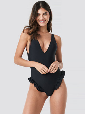 Trendyol Yol Frill Swimsuit svart