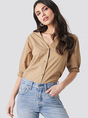 NA-KD Trend Button Short Sleeve Blouse beige