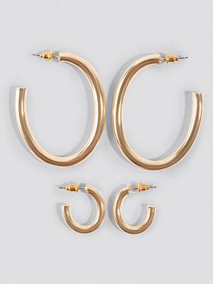 NA-KD Accessories smycke Oval Hoop Earrings (Double Pack) guld