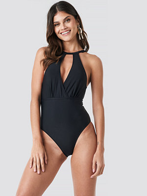 Trendyol Double Breasted Collar Swimsuit svart