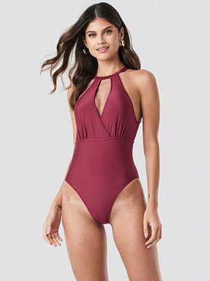 Trendyol Double Breasted Collar Swimsuit röd