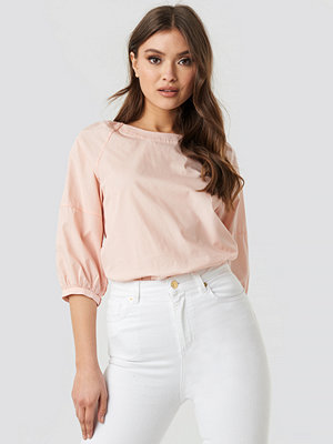 NA-KD Puff Sleeve Cotton Top rosa