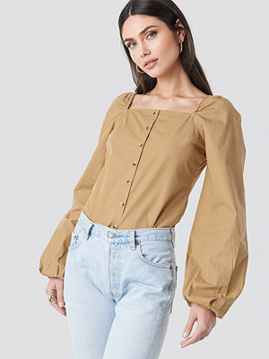 NA-KD Boho Square Neck Volume Sleeve Blouse beige