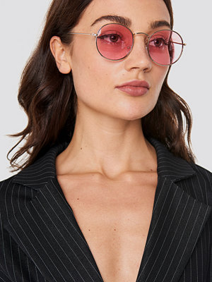 NA-KD Accessories Round Metal Frame Sunglasses rosa guld
