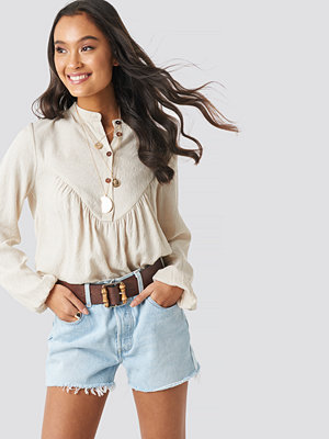 NA-KD Boho Buttoned Gathered Blouse beige