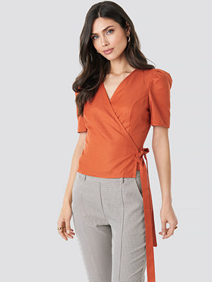 NA-KD Wrap Over Side Tie Top orange
