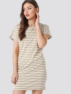 NA-KD Striped Oversized T-shirt Dress vit beige