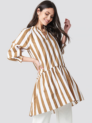 NA-KD Boho Frill Neck Striped Midi Dress beige