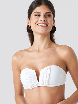 NA-KD Swimwear Frill Deep V Bandeau Bikini vit