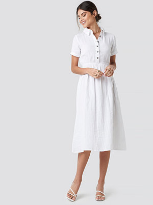 NA-KD Trend Light Cotton Midi Dress vit