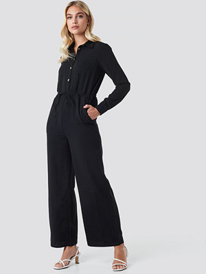 Jumpsuits & playsuits - NA-KD Trend Wide Drawstring Jumpsuit svart