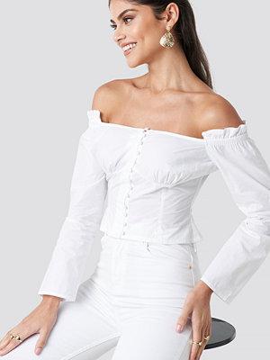 NA-KD Boho Off Shoulder LS Cotton Blouse vit