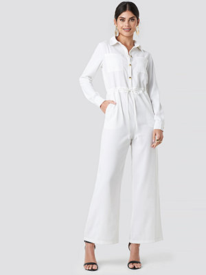 Jumpsuits & playsuits - NA-KD Trend Wide Drawstring Jumpsuit vit