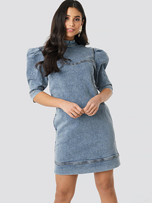 NA-KD Trend Puff Sleeve Denim Mini Dress blå