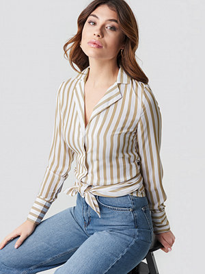 NA-KD Trend Tied Waist Striped Shirt beige