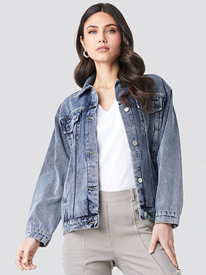 NA-KD Trend Long Oversized Denim Jacket blå