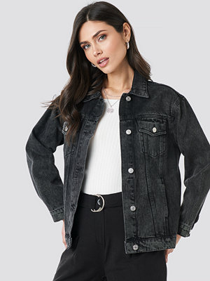 NA-KD Trend Long Oversized Denim Jacket svart