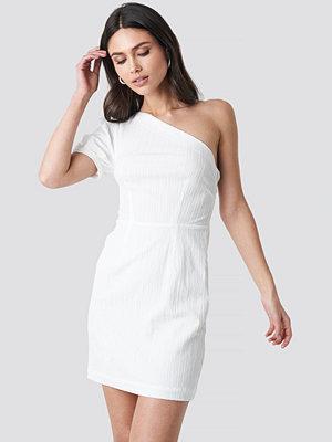 NA-KD Party One Shoulder Puff Sleeve Mini Dress vit
