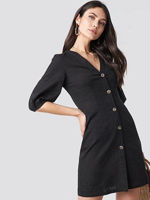 NA-KD Boho Puff Sleeve Button Up Dress svart