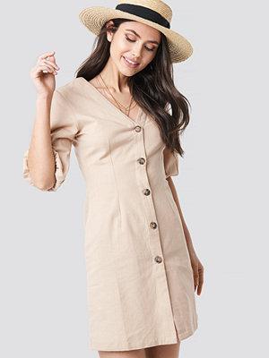 NA-KD Boho Puff Sleeve Button Up Dress beige