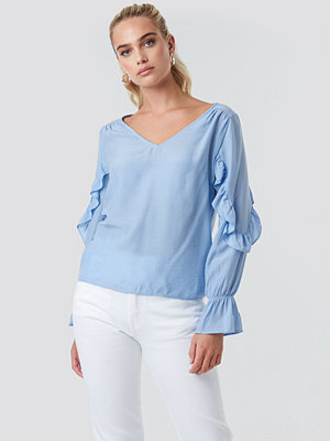 Rut & Circle Frill Sleeve Blouse blå