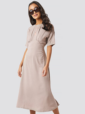 NA-KD Boho Gathered Detail Midi Dress beige
