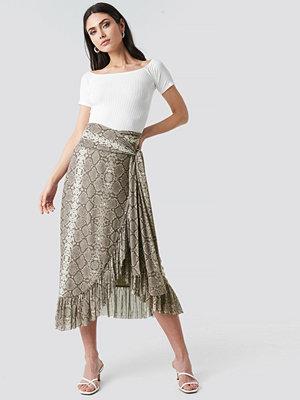 NA-KD Trend Mesh Tied Waist Ankle Skirt beige