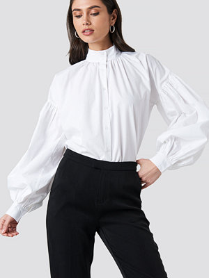 NA-KD Classic Balloon Sleeve Shirt vit