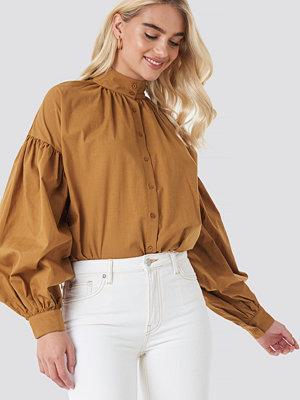 NA-KD Classic Balloon Sleeve Shirt brun