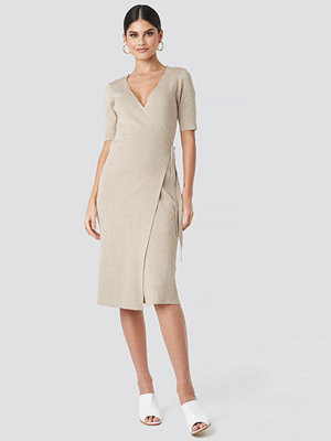 NA-KD Classic Ribbed Wrap Midi Dress beige
