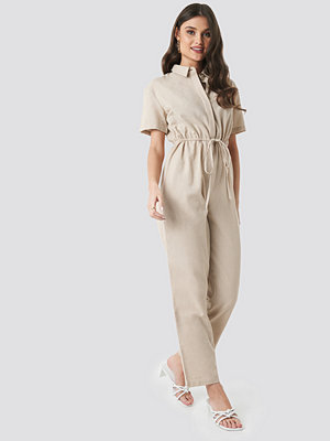 Jumpsuits & playsuits - NA-KD Trend Linen Look Drawstring Shirt Jumpsuit beige